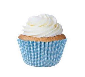 Forminha Mini Cupcake Xadrez Azul Bebê Nº2 c/45 unid