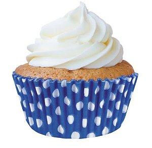 Forminha Mini Cupcake Azul c/ Bolinhas Brancas Nº2 c/45 unid
