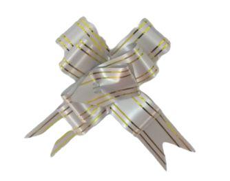 Laço Pronto Cinza e Dourado Laleti 28cm x 480mm c/10