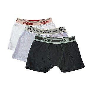 Kit 3 Cuecas Boxer Infantil Cotton Ciaman