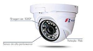 Câmera Dome IR  4 em 1  25Metros, 2MP 1080PLente 2,8mm, FS-MDF2M  - HDTVI, HDCVI, AHD, Analógico