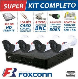 KIT 4 CANAIS CFTV SUPER FLEX FOCUSBRAS COMPLETO