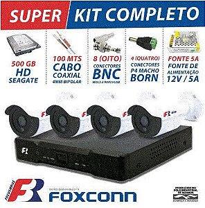 KIT 4 CANAIS CFTV SUPER FLEX FOCUSBRAS COMPLETO