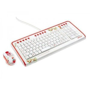 Combo teclado multimídia e mini mouse USB Moranguinho