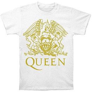Camiseta Básica Banda Queen Logo Dourado