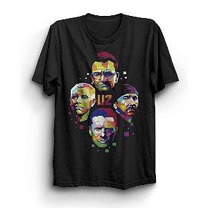 Camiseta Básica Banda U2 Arte Integrantes
