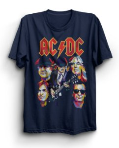 Camiseta Básica Banda AC/DC Arte Integrantes