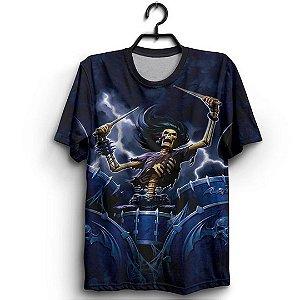 Camiseta Full 3D Caveira Baterista