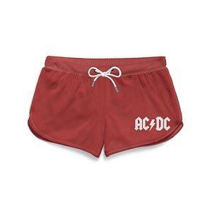 Short Praia Feminino Logo Branco Banda AC/DC
