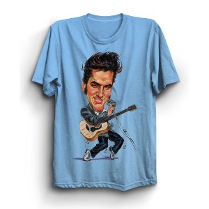 Camiseta Básica Caricatura Rei do Rock Elvis Presley