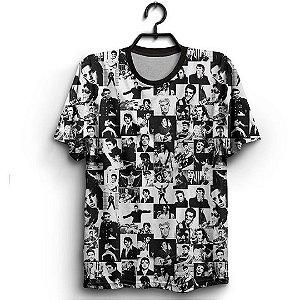 Camiseta 3D Full Rei do Rock Imagens Cantor Elvis Presley