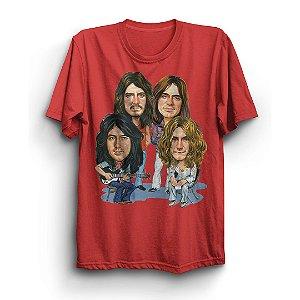 Camiseta Básica Caricatura Integrantes Banda Led Zeppelin