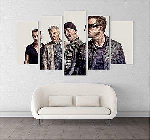 Painel Quadro 5 Telas 110x55cm Integrantes Banda Rock U2