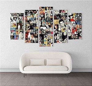 Painel Quadro 5 Telas 100x55cm Fotos Rei do Rock Elvis Presley