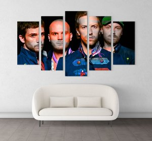 Painel Quadro 5 Telas 100x55cm Integrantes Banda Rock Coldplay