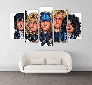 Painel Quadro 5 Telas 110x55cm Caricatura Integrantes Banda Rock Guns N' Roses