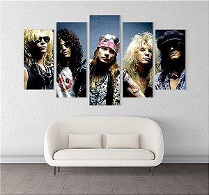 Painel Quadro 5 Telas 110x55cm Integrantes Banda Guns N' Roses