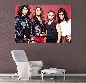 Painel Quadro 1 Tela 55x110cm Integrantes Banda Rock Van Halen