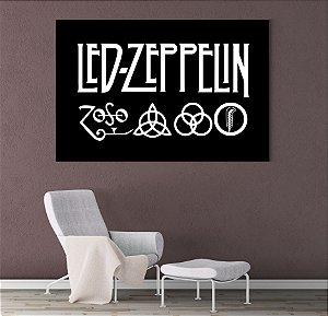 Painel Quadro 1 Tela 55x110cm Logo Banda Rock Led Zeppelin