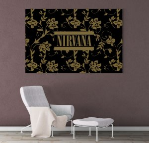 Painel Quadro 1 Tela 55x110cm Logo Banda Rock Nirvana Floral