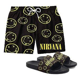Kit Bermuda Short Praia + Chinelo Slide Verão Logo Banda Rock Nirvana