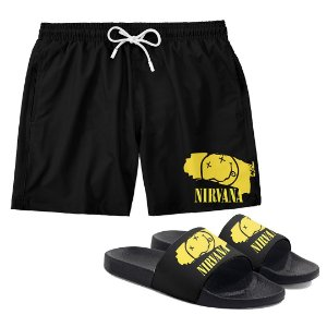 Kit Bermuda Short Praia + Chinelo Slide Verão Logo Faixa Banda Rock Nirvana