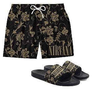 Kit Bermuda Short Praia + Chinelo Slide Verão Logo Floral Banda Nirvana Rock