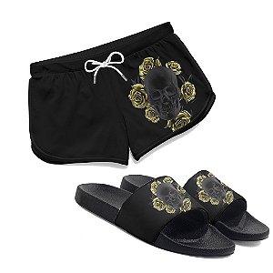 Kit Short Praia Feminino + Chinelo Slide Caveira Flores Douradas