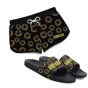 Kit Short Praia Feminino + Chinelo Slide Logo Banda Nirvana Rock
