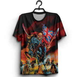 Camiseta 3D Full Banda Heavy Metal Iron Maiden Bandeira Patriota