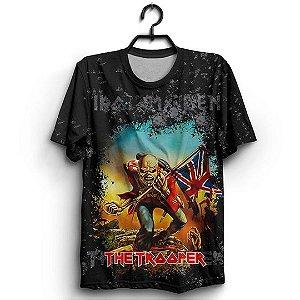 Camiseta 3D Full Bandeira Patriota Banda Iron Maiden