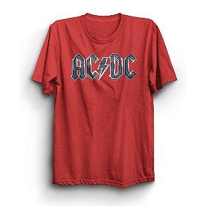 Camiseta Básica Logo Metalizado Banda AC/DC