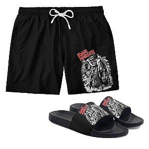Kit Bermuda Short Praia + Chinelo Slide Banda Heavy Metal Iron Maiden
