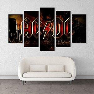 Painel Quadro 5 Telas 110x55cm Cidade Destruída Logo Banda AC/DC