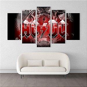 Painel Quadro 5 Telas 110x55cm Banda Rock AC/DC