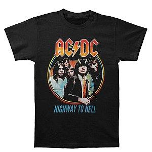 Camiseta Básica Banda Rock AC/DC Highway To Hell