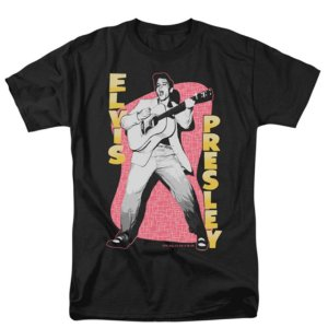 Camiseta Básica Cantor Elvis Presley Pink Rock