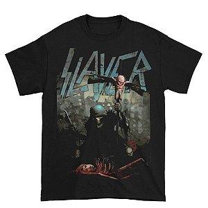 Camiseta Básica Banda Thrash Metal Slayer Soldier Cross