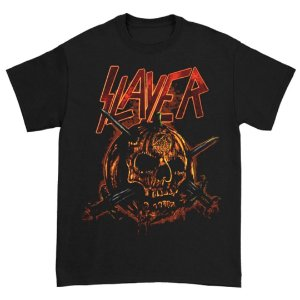Camiseta Básica Banda Thrash Metal Slayer Skull Pumpkin