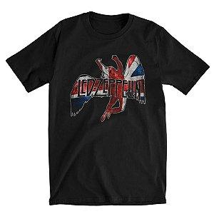 Camiseta Básica Banda Rock Led Zeppelin Icarus Flag Slim