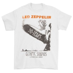 Camiseta Básica Banda Rock Led Zeppelin Blimp 50 Years