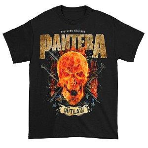 Camiseta Básica Banda Pantera Thrash Metal Outlaw Skull