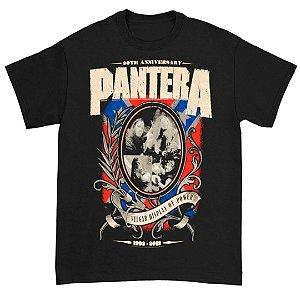 Camiseta Básica Banda Pantera Thrash Metal Anniversary Shield