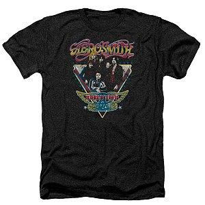 Camiseta Básica Banda Rock Aerosmith Triangle Stars