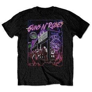 Camiseta Básica Banda Rock Guns N' Roses Sunset Boulevard