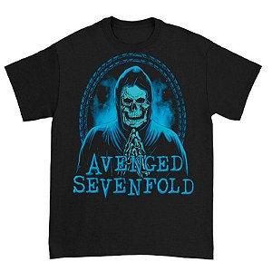 Camiseta Básica Banda Heavy Metal Avenged Sevenfold Praying Skeleton
