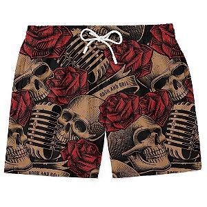 Bermuda Short Praia Roses Skull Music