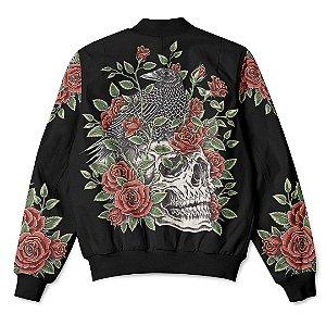 Jaqueta Bomber com Bolsos Skull And Roses