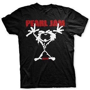 Camiseta Básica Banda Rock Pearl Jam Stickman