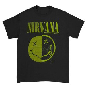 Camiseta Básica Banda Rock Nirvana Split Smile